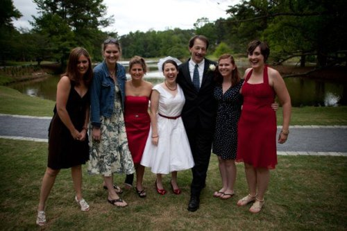 From L to R:  Chelsey Boggs ('09), Leland Bridges ('07), Josie Fingerhut Shaheen ('05), Me ('06), Dr. Jeff Poelvoorde, Daniela Burrows Cuddington ('09), and Molly Smith Kellam ('07).  Together again at my wedding, May 15, 2011, nearly 5 years to the day after I graduated from Convrse.