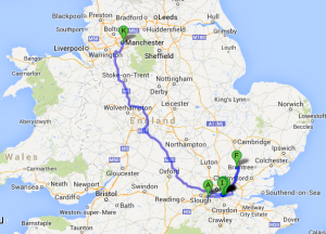 (BWI-->Heathrow-->Greater London-->Bishops Stortford-->Greater London-->Manchester)