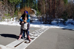 Photo of couple at Nevada/California border.