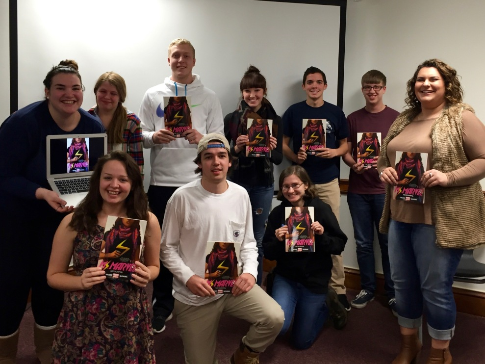 Students at Roanoke College after our discussion of Ms. Marvel.